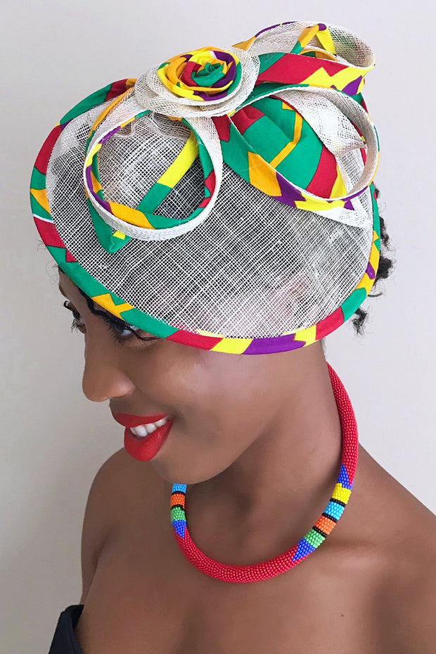 African Print Fascinator hair clip hat - Green/ red / yellow - Afrilege