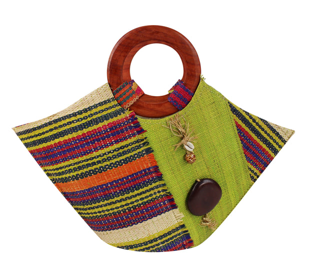 African Hand Woven Raffia Fibers Basket Bag with Wooden Handle - Afrilege