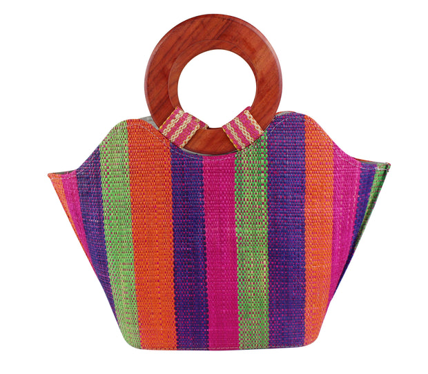 African Hand Woven Raffia Fibers Handbag with Wooden Handle - Afrilege