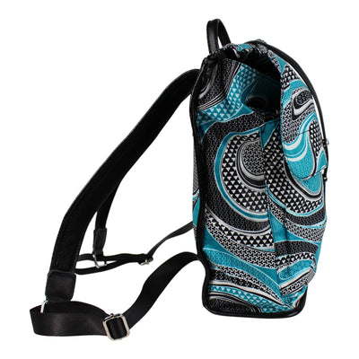 African Print Backpack - blue aqua / white - Afrilege