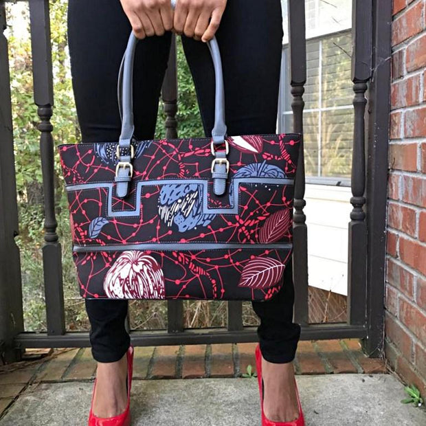 African Print Bag with Purse - Brown / Gray / Red - Afrilege