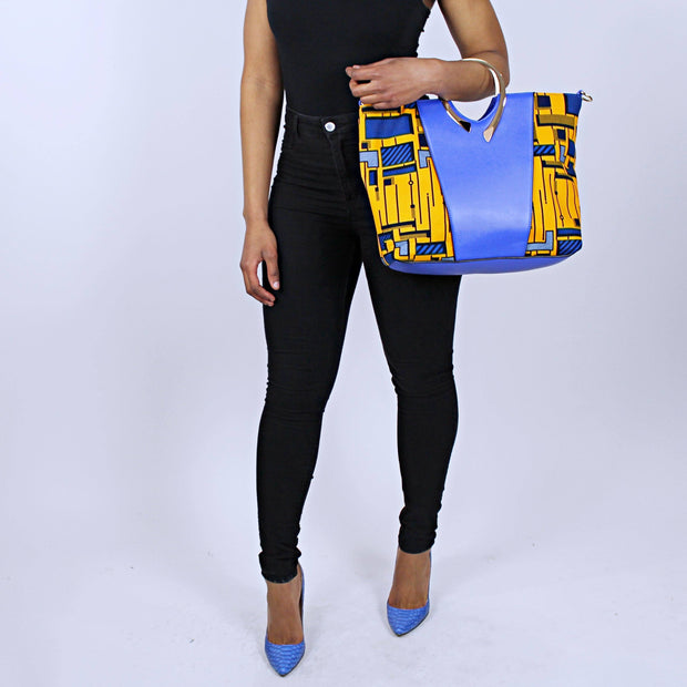 African Print Bag with Purse - Yellow / Blue - Afrilege