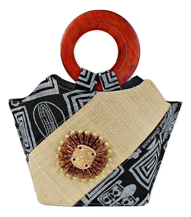 Bamileke Hand Woven Raffia Fibers African Basket bag with wood handle - Medium - Afrilege