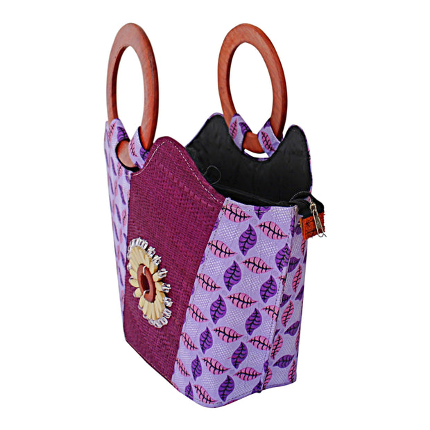 Hannah Hand Woven Raffia Fibers Basket African bag with wood handle - Light purple - Afrilege