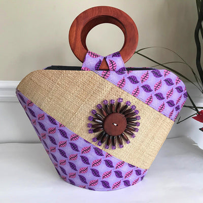 Hannah Hand Woven Raffia Fibers African Basket bag with wood handle - Big - Afrilege