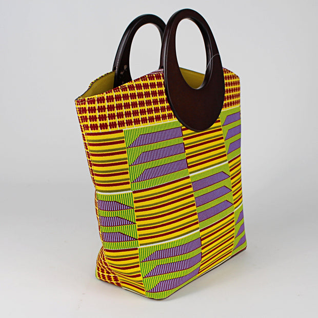 Kente African Print Bag with purse - Yellow / Purple - Afrilege