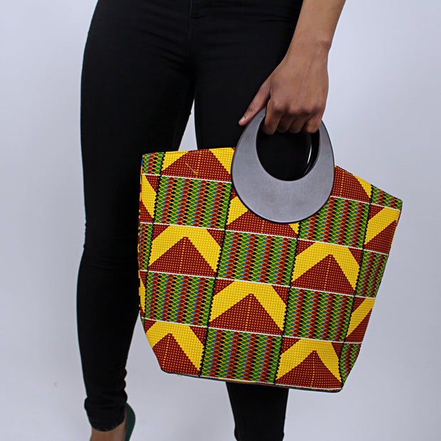 Kente African Print Bag with purse - Yellow / Red / Green - Afrilege