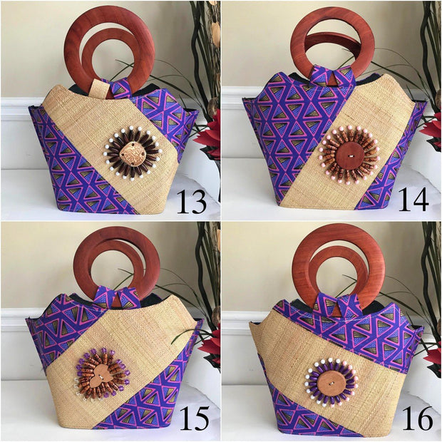 Nina Hand Woven Raffia Fibers African Print Basket Bag with wood handle - purple / Pink - Afrilege