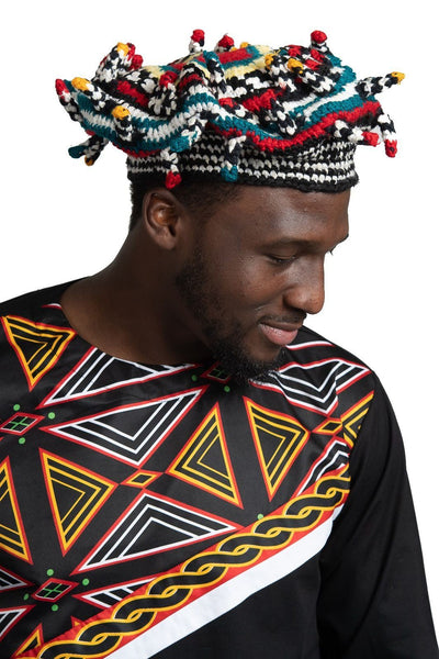 Bamileke Handwoven traditional attire hat - Afrilege