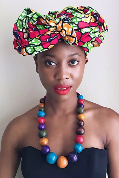 Rosita African Print Headwrap (Green / Red / Yellow) - Afrilege