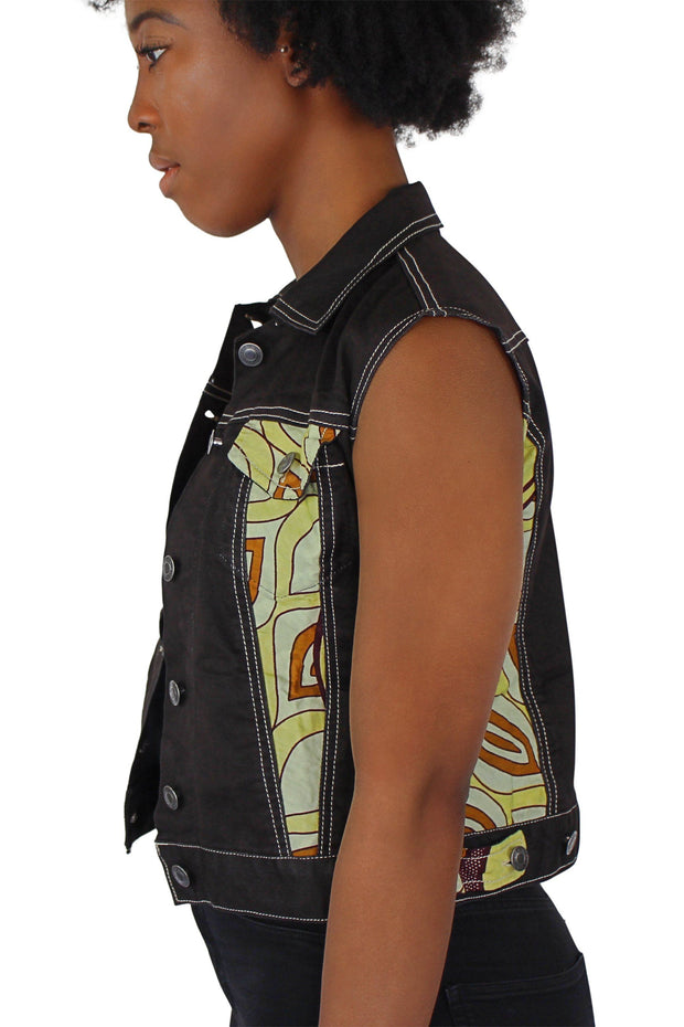 African Print Ekua Denim Short Sleeve Jacket - Afrilege