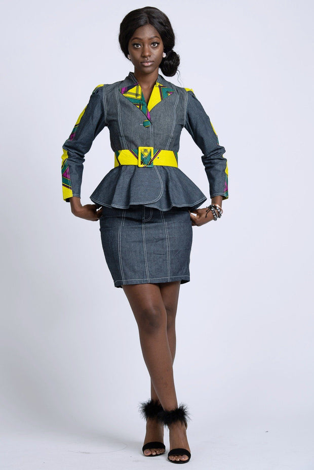 African Print Simisola Denim Women jackets tops (Yellow) - Afrilege