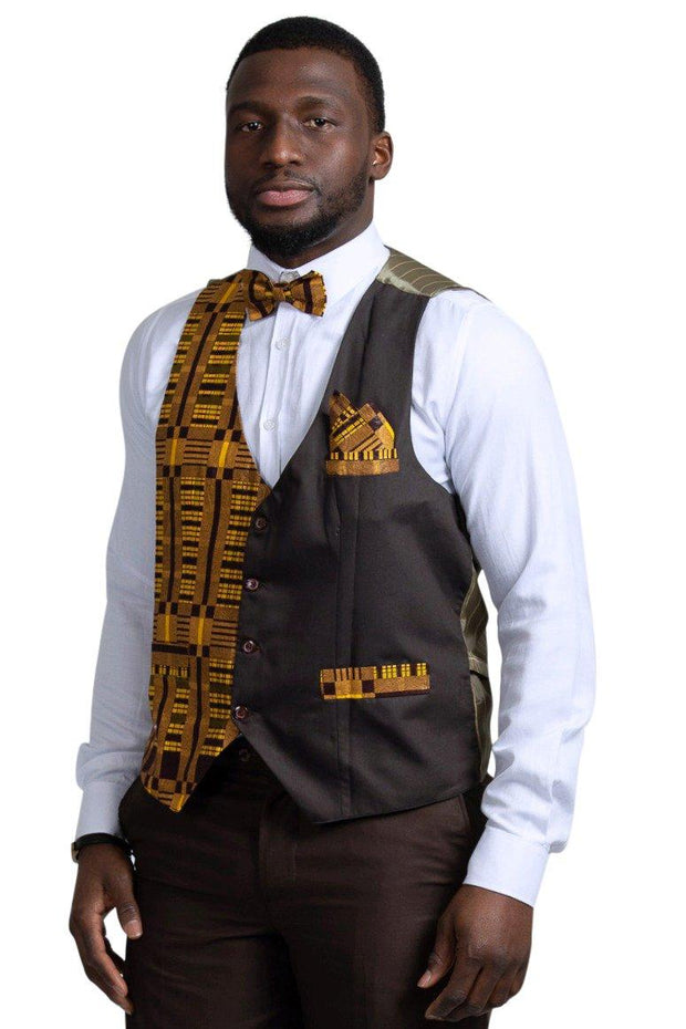 Kadir African Print Kente Men's Fit Suit Vest ( Brown & Gold) - Afrilege