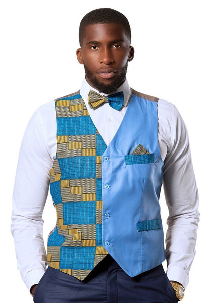 Kael African Print Kente Men's Fit Suit Vest ( Blue & Gold) - Afrilege