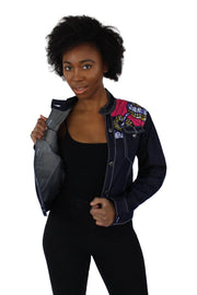 Nala Women's African Print Long Sleeve Denim Jacket - Afrilege