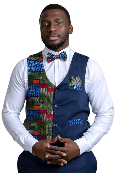 Vadik African Print Kente Men's Fit Suit Vest ( Navy Blue & Dark green) - Afrilege