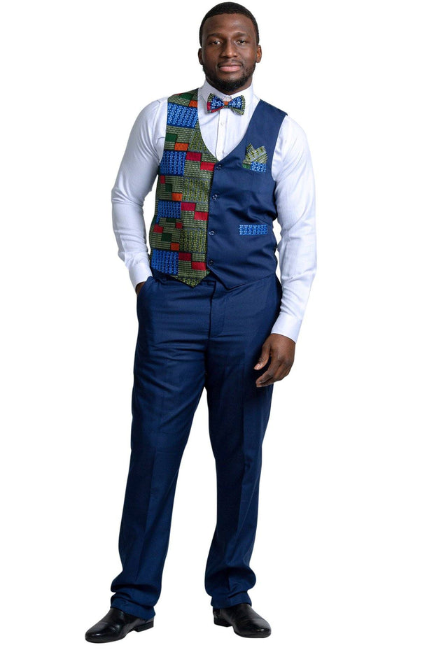 Jacket - Vadik African Print Kente Men's Fit Suit Vest ( Navy Blue & Dark Green)