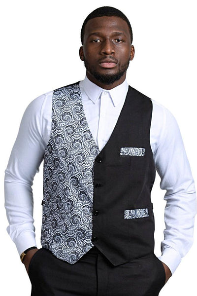 Val African Print Kente Men's Fit Suit Vest (Black & White) - Afrilege