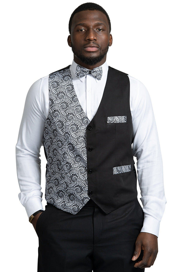 Jacket - Val African Print Kente Men's Fit Suit Vest (Black & White)