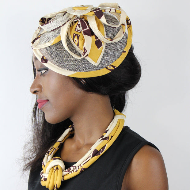 African Print Fabric Ankara Knot Jewelry Set ( Necklace - Bracelets - earrings) - Afrilege