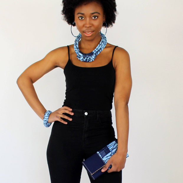 Akin African Print Fabric Ankara Knot Jewelry Set ( Necklace - Bracelets - earrings) - Afrilege