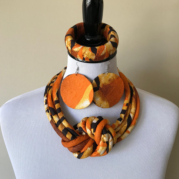 Ayo African Print Fabric Ankara Knot Jewelry Set ( Necklace - Bracelets - earrings) - Afrilege