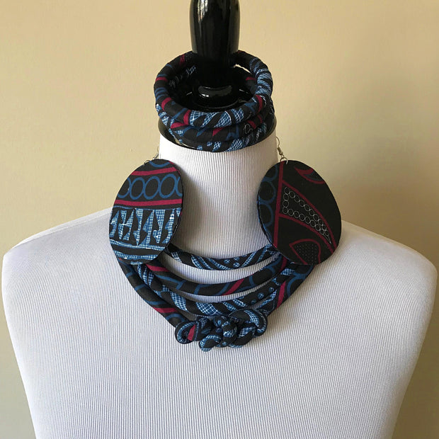 Bami African Print Fabric Ankara Knot Jewelry Set ( Necklace - Bracelets - earrings) - Afrilege