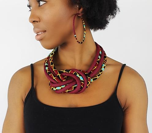 Hadja African Print Knot Jewelry Set ( Necklace - Bracelets - earrings) - Afrilege