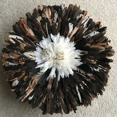 "24"" Dark natural feathers & white Bamileke Juju Hat from Cameroon - Afrilege"