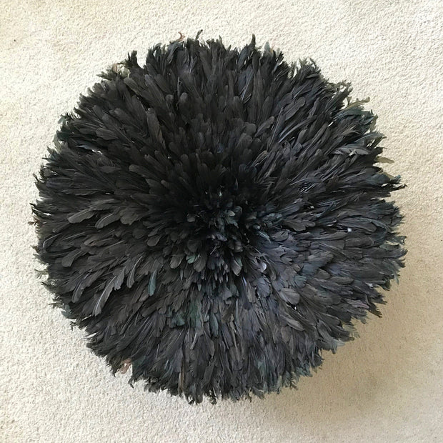 "28"" Authentic Bamileke Juju hat wall decor - Black / Deep brown - Afrilege"