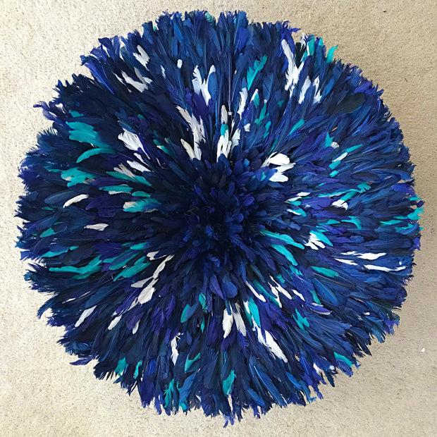 "28"" Deep Blue trimmed with Green and white Authentic Bamileke Juju Hat from Cameroon - Afrilege"