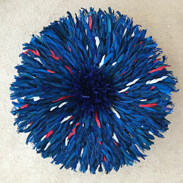 "28"" Deep Blue trimmed with red and white Authentic Bamileke Juju Hat from Cameroon - Afrilege"