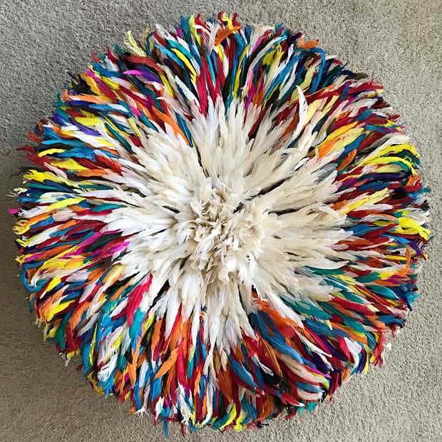 "28"" Multicolored White Authentic Bamileke Juju Hat from Cameroon - Afrilege"