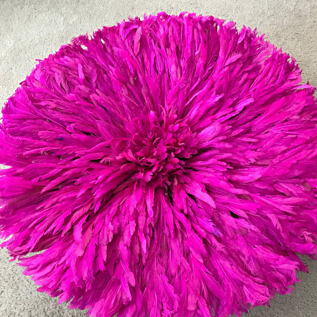 "28"" Pink Purple Bamileke Juju Hat from Cameroon - Afrilege"