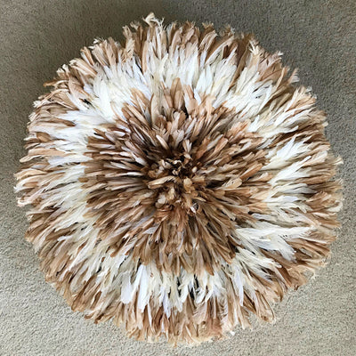 "28"" White Light Brown Bamileke Juju Hat from Cameroon - Afrilege"