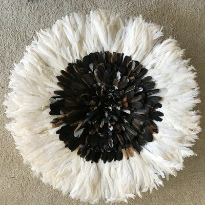 "29"" Dark natural feathers & white Bamileke Juju Hat from Cameroon - Afrilege"