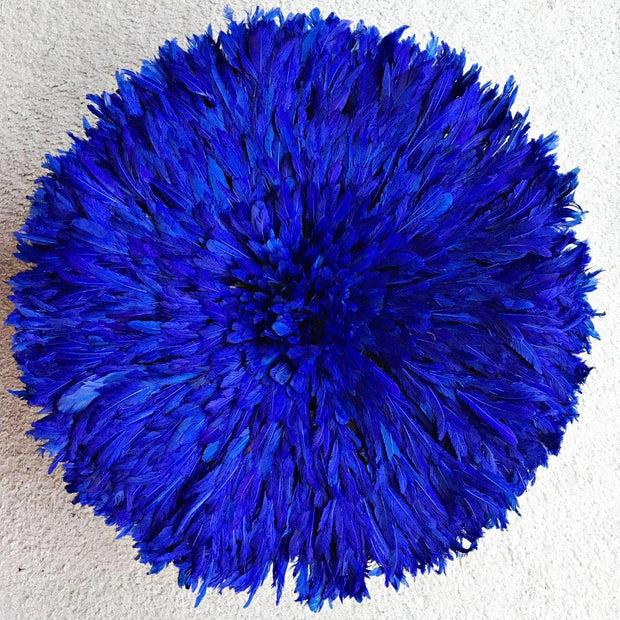 "29"" Deep Blue Bamileke Juju Hat from Cameroon - Afrilege"