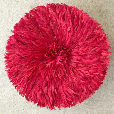 "29"" Red Bamileke Juju Hat from Cameroon - Afrilege"