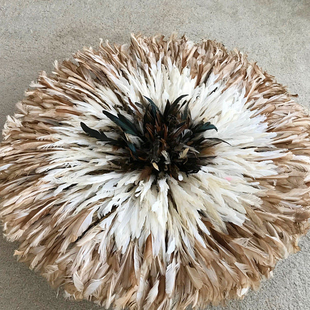 "29"" White Light Brown Bamileke Juju Hat from Cameroon - Afrilege"