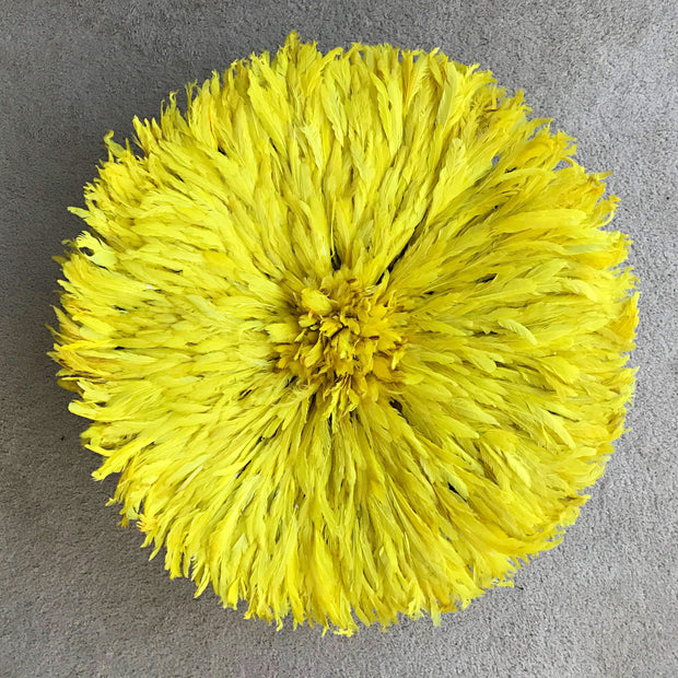 "29"" Yellow Bamileke Juju Hat from Cameroon - Afrilege"