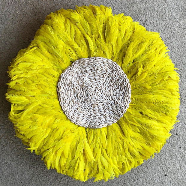 "29"" Yellow with Cowries Bamileke Juju Hat from Cameroon - Afrilege"