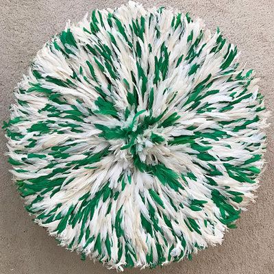 "30"" Authentic Bamileke Juju Hat from Cameroon - Green / White - Afrilege"