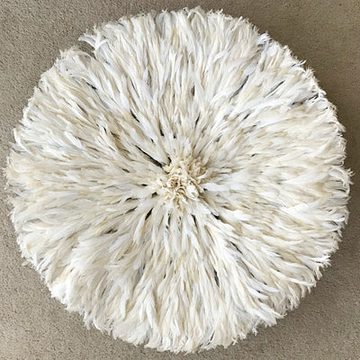 "30"" Authentic Bamileke Juju hat wall decor - white / ivory - Afrilege"