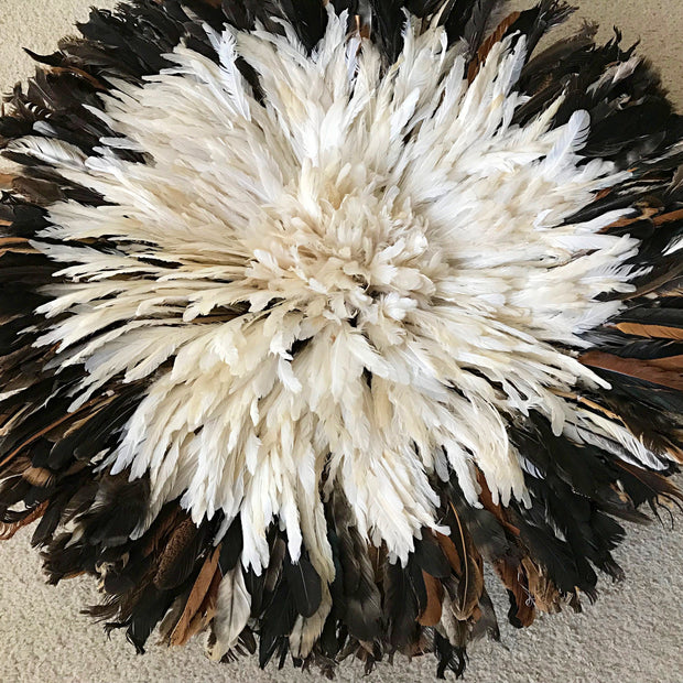 "30"" Dark natural feathers & white Bamileke Juju Hat from Cameroon - Afrilege"