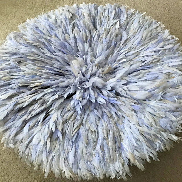 "30"" Light Blue Purple Authentic Bamileke Juju Hat from Cameroon - Afrilege"
