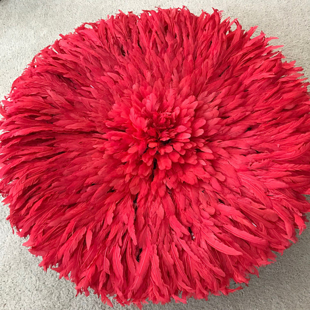 "30"" Red Authentic Bamileke Juju Hat from Cameroon - Afrilege"
