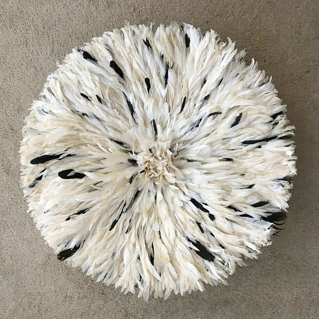 "30"" White & Dark natural feathers Trim Bamileke Juju Hat from Cameroon - Afrilege"