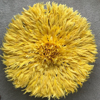 "30"" Yellow Bamileke Juju Hat from Cameroon - Afrilege"