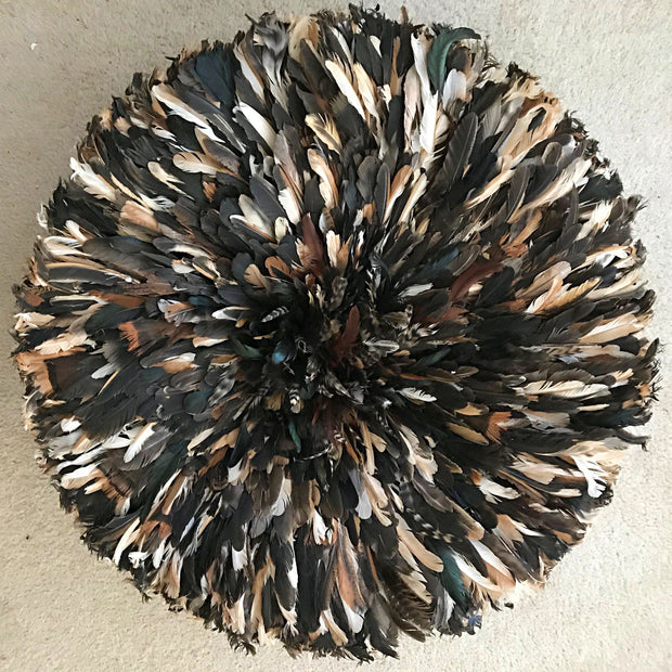 "31"" Dark natural feathers Authentic Bamileke Juju Hat from Cameroon - Afrilege"
