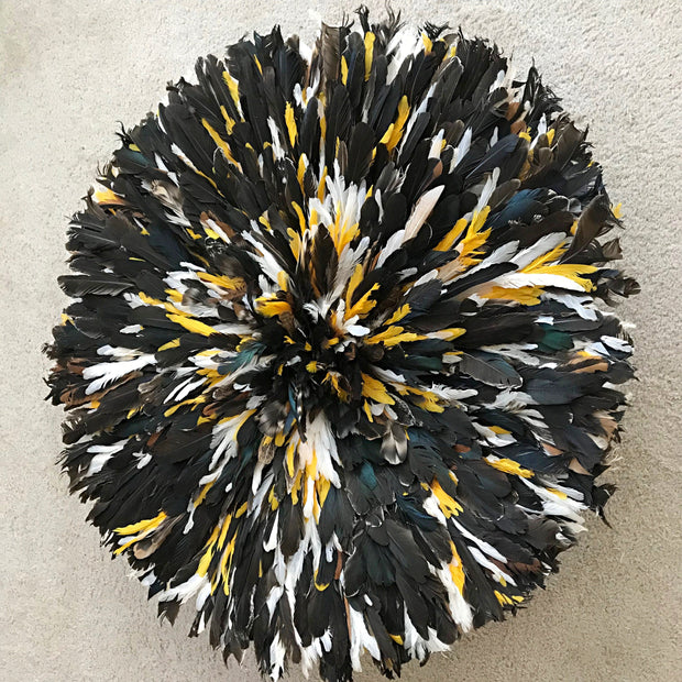 "31"" Dark natural feathers with Yellow Trims  Bamileke Juju Hat from Cameroon - Afrilege"